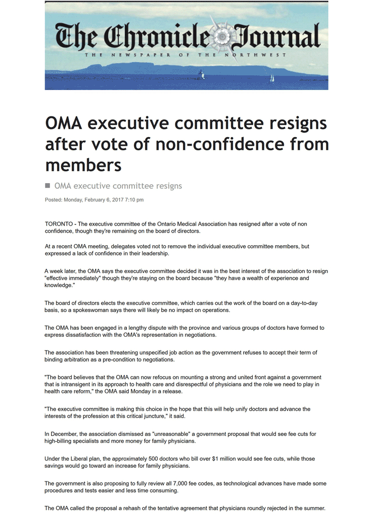 Thunder Bay Chronicle-Journal 2017-02-07- OMA executive committee resigns